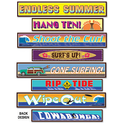 (12) Surfer Street Sign Cutouts prtd 2 sides w/different designs