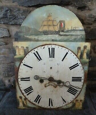 Super late18 / early19th century painted long clock face and movement, castles