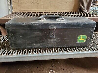 Vintage John Deere tractor mount, heavy duty toolbox. 4455, with Insert Tray
