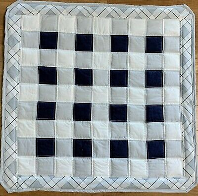 Baby Boy Navy Blue Grey Quilt Handmade Buffalo Plaid Patchwork  Crib Blanket