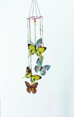 Colorful Butterfly Wind Chime Metal {New In Box) Sq I95