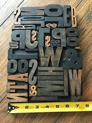 Letterpress Print Type Wood Letter and Number Group - 42 Pieces