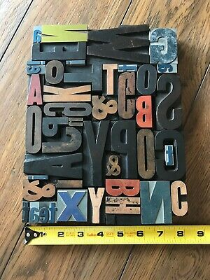 Letterpress Print Type Wood Letter and Number Group - 46 Pieces