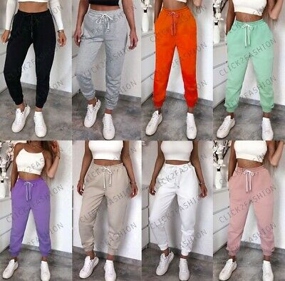 Womens Ladies High Waist Cuffed Bottom Cotton Jogging Joggers Trousers Jog Pants