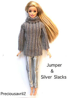 Brand new barbie doll clothes clothing outfit silver pants & grey jumper casual