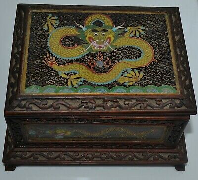 Antique Chinese Carved Wood Box Cloisonne Panels Writhing Dragon Hinged Cover