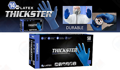 Gloves THICKSTER Powdered Exam Grade Latex Ultra Thick 14mil LARGE 50Pcs SAS6603
