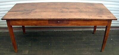 Antique French 19th Century Oak & Cherry Wood Refectory Dining Table (6 seat)