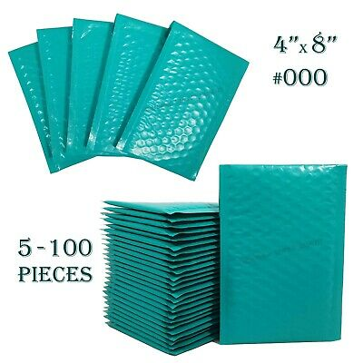 Teal Poly Bubble Mailers 4x8 Self Seal #000 Padded Shipping Envelopes 5-100 PCS