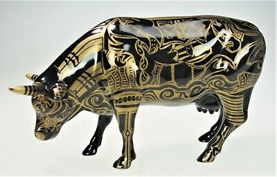 2000 Cow Parade Black & Gold Tribal Tattoo Steer