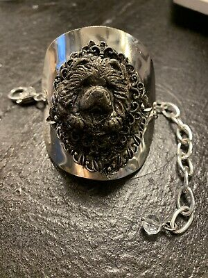 One of a Kind Antique Bronze Ornate Chow Head Spoon Bracelet