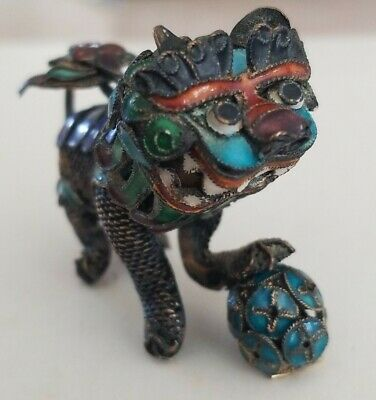 Vintage Antique Asian Chinese? Miniature Filigree & Enamel Foo Dog Figurine