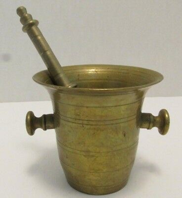 Vintage Mortar and Pestle Set Solid Brass Apothecary Herb Kitchen Holistic Small