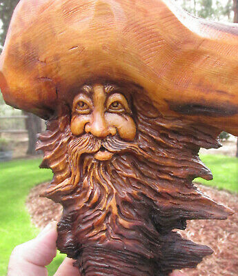 Wood Spirit Carving Forest Hobbit Log Home Gnome Cabin Wall Art Sculpture