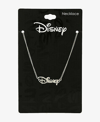DISNEY LOGO SILVER TONE CHARM PENDANT NECKLACE Officially Licensed New