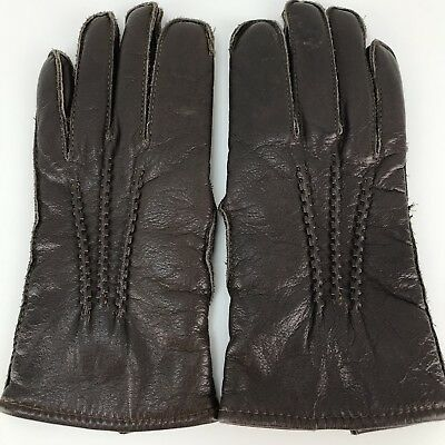 Cashmere Lined Leather Gloves Brown Women's Size Small Daniel Hays