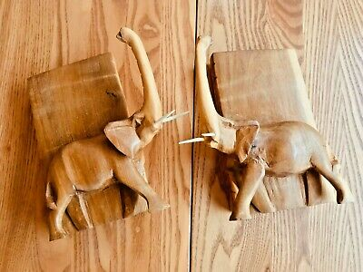 Hand Carved Soapstone Elephant Bookends Disney African Outpost Epcot