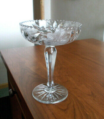 Vintage - Beautiful Cut Glass Compote With Flower & Leaf Design