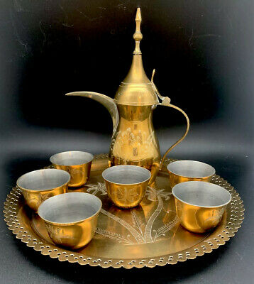 Vintage Brass Dallah Coffee Tea Pot+6 Cups+Tray Etched India Palm Tree Pattern