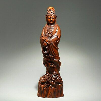 Collect China Old Boxwood Hand-Carved Buddhism Kwan-Yin Moral Bring Luck Statue