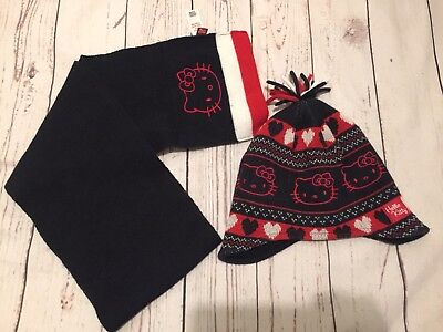 Girls TU  Hello Kitty Size 7-10 Years Red/Black  Hat & Scarf  Set Excellent C.