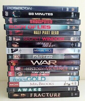 Action/Thriller Dvd Lot Of 16~Pre-Owned~See Listing For Complete Title List (03)