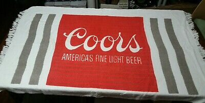 """Vintage Coors """"America's Fine Light Beer"""" Beach Towel Cone Usa 55 1/2"""" X 33"""""""