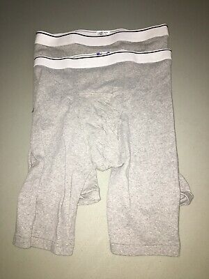 Jockey Mens Pouch Midway Boxer Briefs 2-Pack Underwear Gray  Size Large Nwot