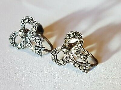 Vintage Art Deco Marcasite Silver Pair Bow Earrings Antique Jewellery 1920s 30s