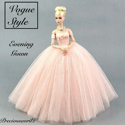 Brand new barbie doll clothes outfit princess pastel pink Vogue evening dress