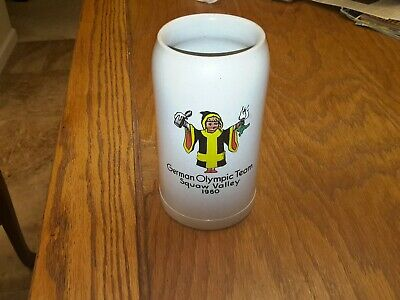 Vintage 1960 Squaw Valley German Olympic Team Commemorative 1L Beer Stein