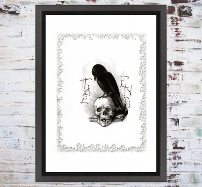 Raven Skull The End Curio Occult Weird Art Print White Buy 2 Get 1 Free
