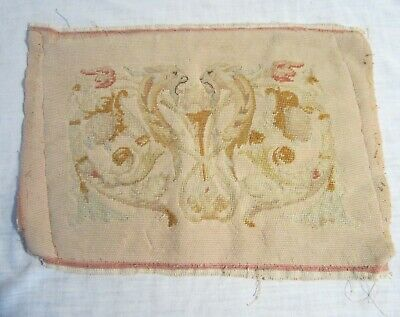 "Antique TAPESTRY or SAMPLER -- Confrontation of Two HERALDIC BEASTS -- 16"" x 12"""