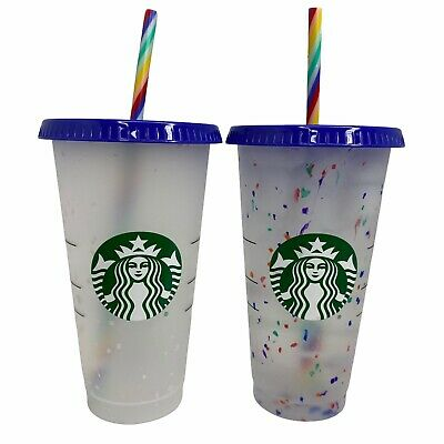 Starbucks Reusable Confetti Color Changing 24oz Cold Cup Summer 2020