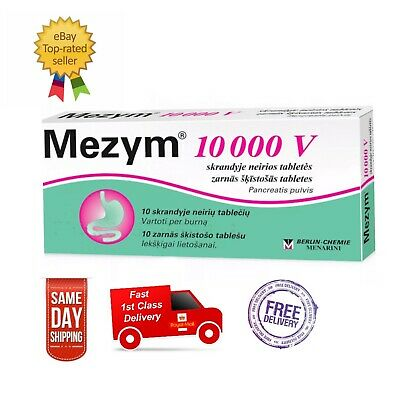 MEZYM 10000V Indigestion Stomach Pain Gas Bloating Relief 10tablets