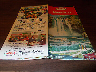 1957 Humble Oil Mexico Vintage Road Map