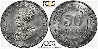 Straits Settlements, 1920 George V Fifty Cents, PCGS MS 65, 50 Cents.