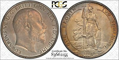 Great Britain, 1903 Edward VII Florin. PCGS AU 58. 995,000 Mintage.