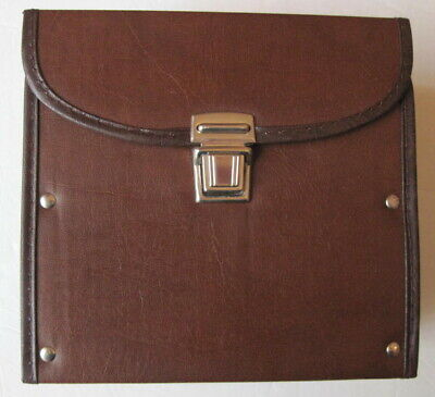Vintage Brown Leather Look Vinyl 45 Rpm Storage And Tote Case Holds 50