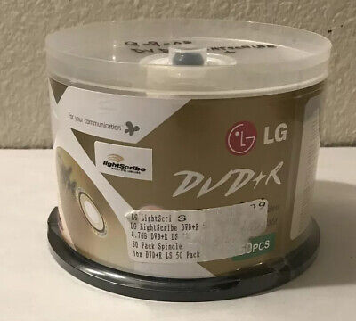 New Lg Lightscribe Dvd-R Sealed Pack Of 50 Discs Pack 16X 4.7 Gb 120 Min Video