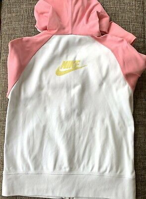 Nike Girls Zipper Hoodie White And Pink Size XL/ Age 13-15