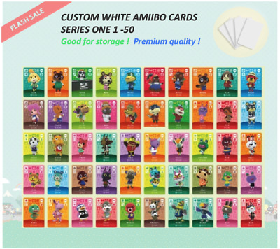 Series 1 Custom White Animal Crossing Amiibo Cards -  001 to 050