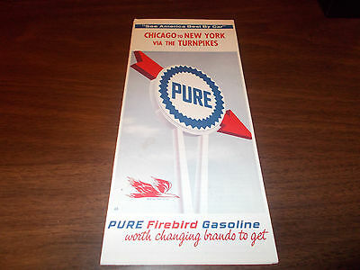 1965 Pure Oil Chicago to New York Via Turnpikes Vintage Road Map