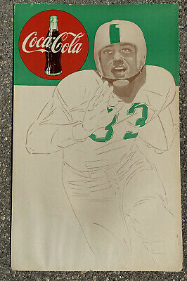 Vintage 1950s Coca Cola Football Poster Sign College Michigan State NFL Eagles