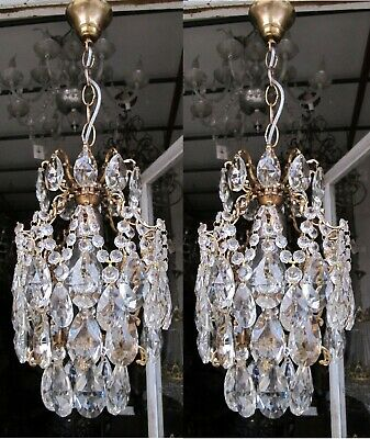 Pair Of Antique French Cage Crystal Chandelier Lamp Lustre Luster1940's