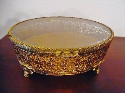 Vintage Gold Ormolu Glass Topped Jewelry Box,Ornate Feet,Hinged Lid