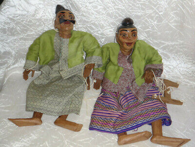 Pair Vintage Handcrafted Burmese String Puppet Marionettes Eyes Mouth Hands Move