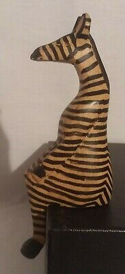 """Zebra Sitting Wooden Figurine Hand Carved and Painted Tan Black Stripes 6"""""""