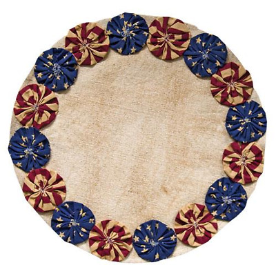 New Primitive Americana Patriotic Flag PENNY STITCHED CANDLE MAT Doily 13""