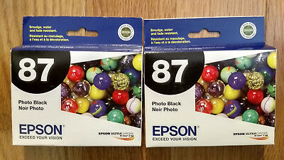 Genuine Lot 2 Epson T0871 Photo Black Ink Stylus Photo R1900 C13T087120 New #87